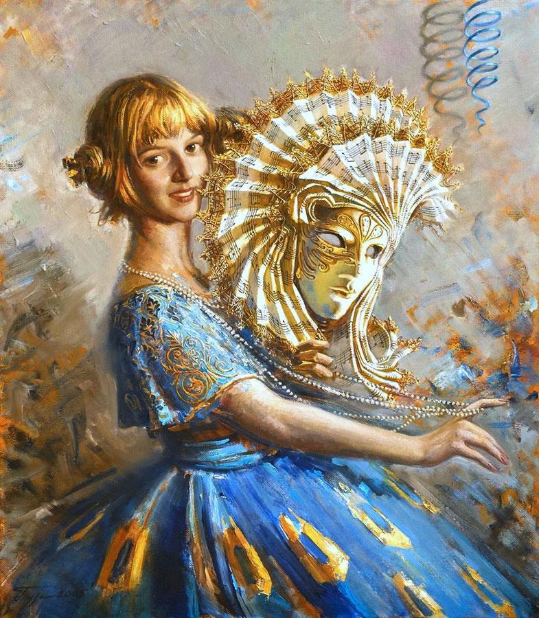 OLEG TURCHIN  Olga on the Carnival Original Oil 40 X 35