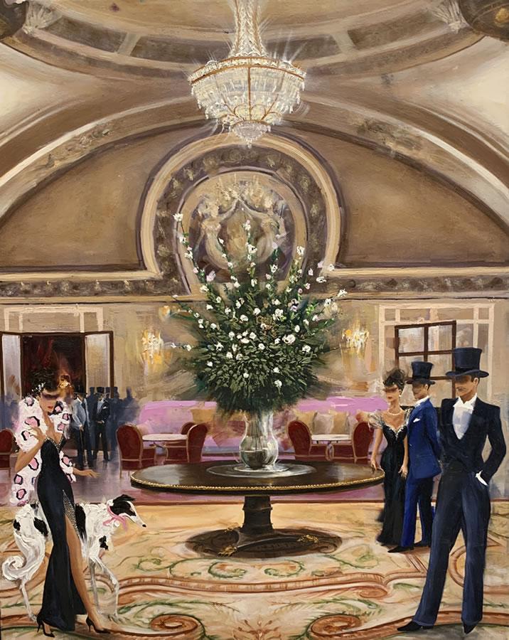 KAMIAR GAJOUM  Hotel De Paris Monaco Original Oil 16 X 20