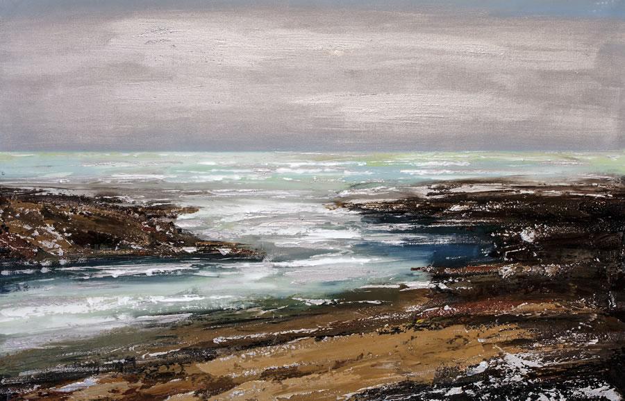 ALEXANDER SHEVERSKY  Tofino Chesterman Beach Original Oil and Resin 21 X 41