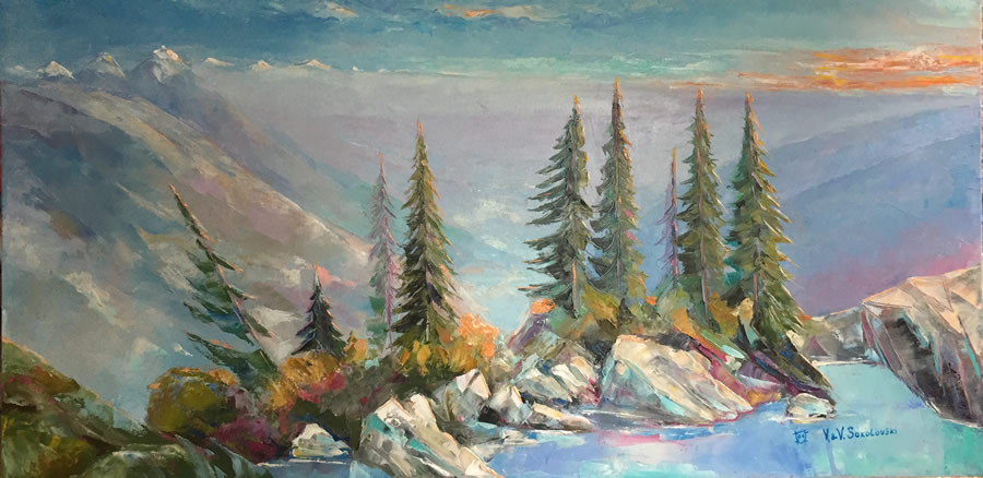 VALERI SOKOLOVSKI  Sea to Sky Original Oil 24 X 48