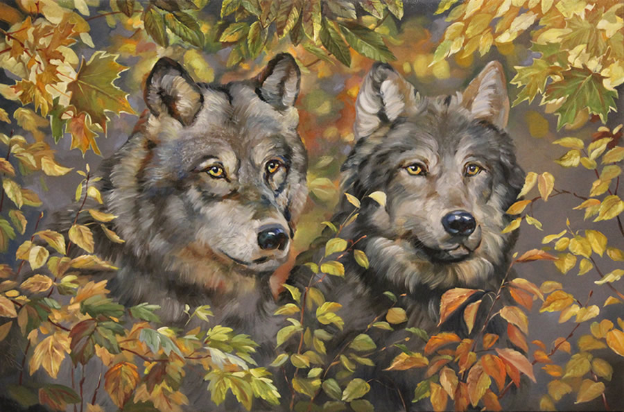 MYKOLA YUROV  Two Wolves Original Oil 25 X 38