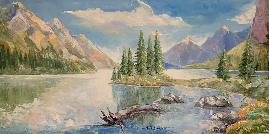 VALERI SOKOLOVSKI  Rocky Mountains Original Oil 24 X 48