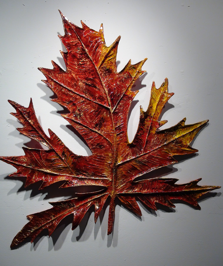 PREMAN SRI ANANDA  Maple Leaf Original Paper Mache Acrylic, Resin 42 X 43