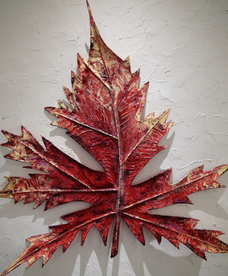 PREMAN SRI ANANDA  Maple Leaf 2 Original Paper Mache Acrylic, Resin 42 X 43