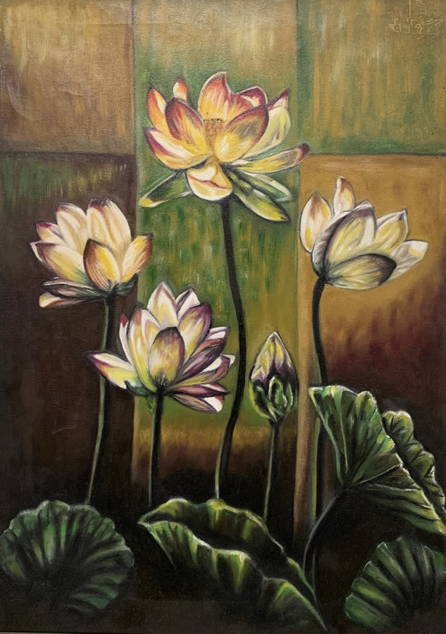 MAHMOUD AWAD  The Darkness Flowers Original Oil 28 X 20