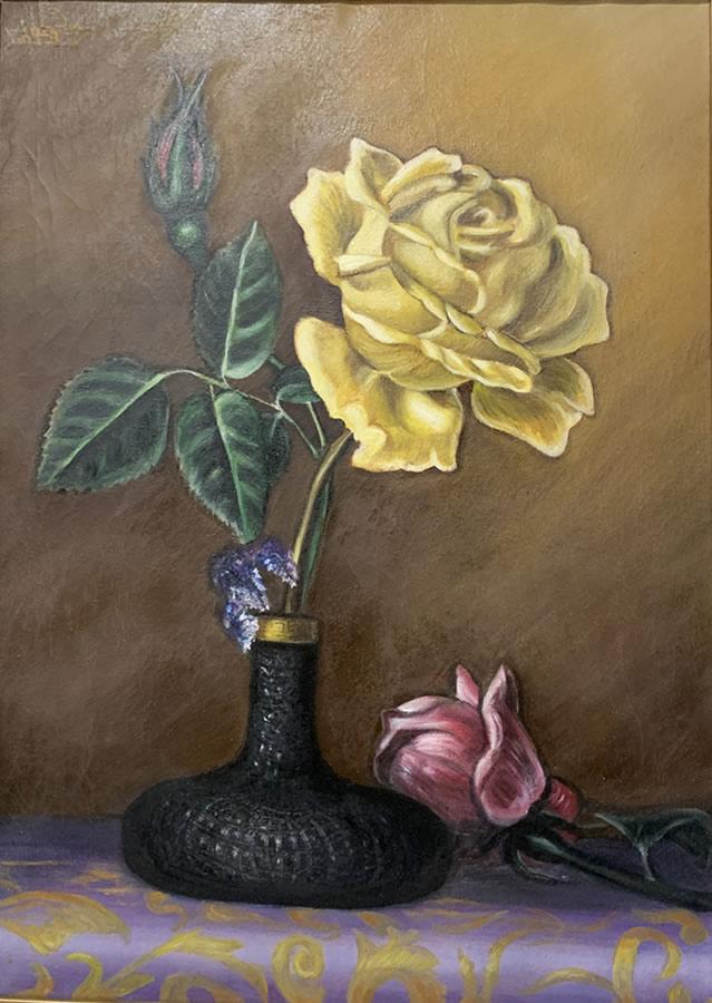 MAHMOUD AWAD  The Jealous Flower Original Oil 31 X 22