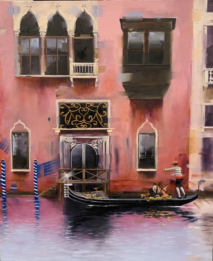 KAMIAR GAJOUM  Momento Di Venezia Original Oil 18 X 21.5