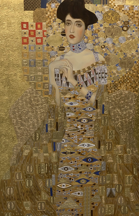 "MYKOLA YUROV  The Lady in Gold, ""Adele Bloch-Bauer II"" Original Rendering Oil Gold Leaf 31.5 X 47"
