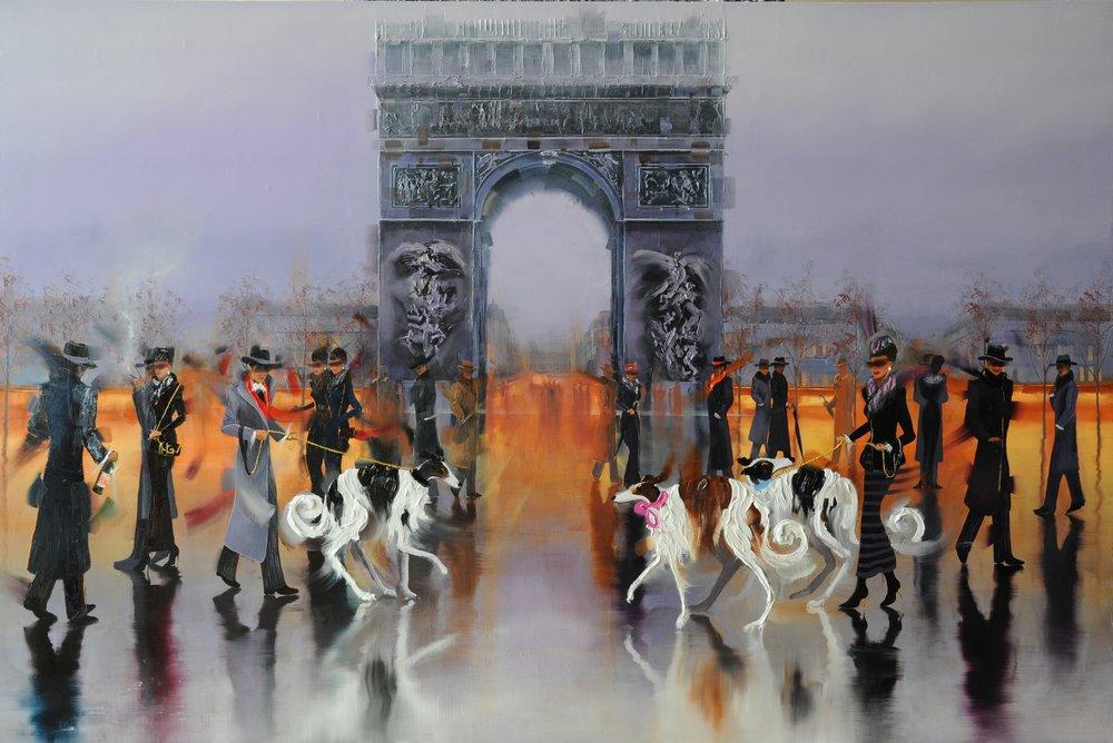 KAMIAR GAJOUM  Arc De Triomphe Runway Original Oil 40 X 60