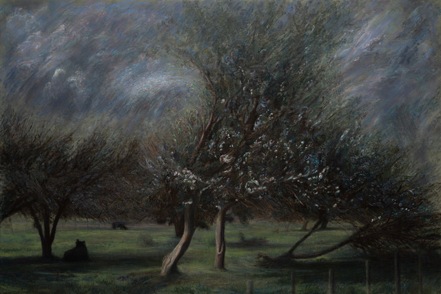 PAUL CHIZIK  Dark Silhouettes in Orchard Grove Original Oil 52 X 79