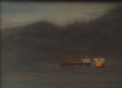 PAUL CHIZIK  Two Ships Original Oil 5 X 6.5