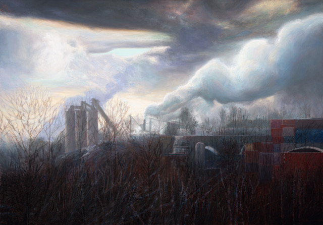 PAUL CHIZIK  Weighted Smoke Industrial Landscape Original Oil 50 X 72