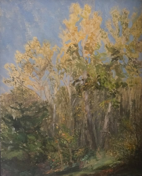 PAUL CHIZIK  Open Forest Blue Yellow & Green Original Oil 15 X 20
