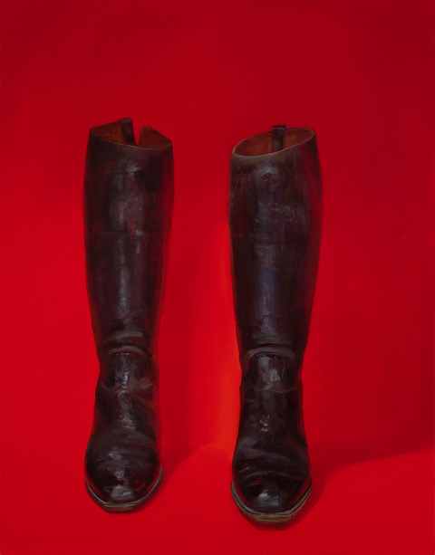 LIZA VISAGIE  Black Boot Original Oil 28 X 22