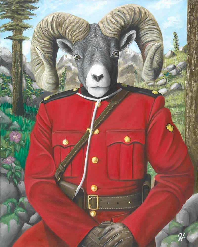 JOSH HARNACK  RCMP Bighorn Sheep Oil on Canvas 30 X 24