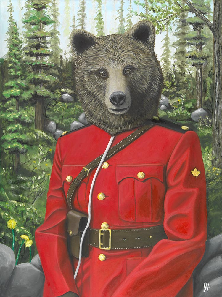 JOSH HARNACK  RCMP Grizzly Bear Oil on Canvas 40 X 30