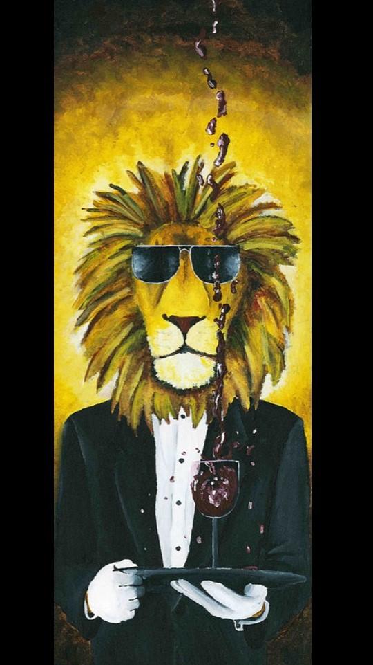 JOSH HARNACK  Lion Acrylic on Canvas 36 X 12