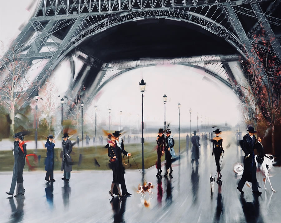 KAMIAR GAJOUM  J'aime Paris Original Oil 48 X 60