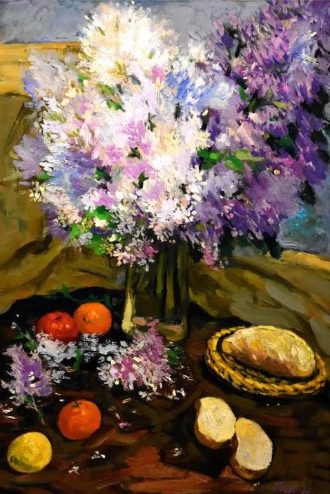 JACK HAER LEE  Lilac Flower Original Oil 41 X 30