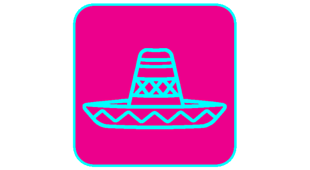A sketch of a blue sombrero, one of the many props Taco Photo Booth Co. offers.