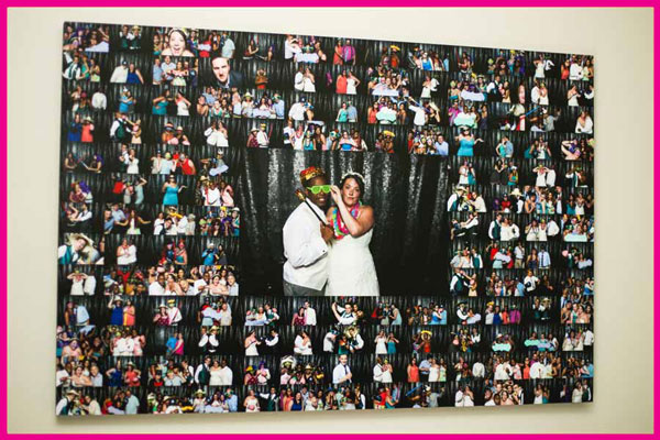 A collage of about 150 images, collected from a wedding that had a photo booth. The collage is then printed on a 20x30 inch canvas and hung up on a wall as a piece of art.