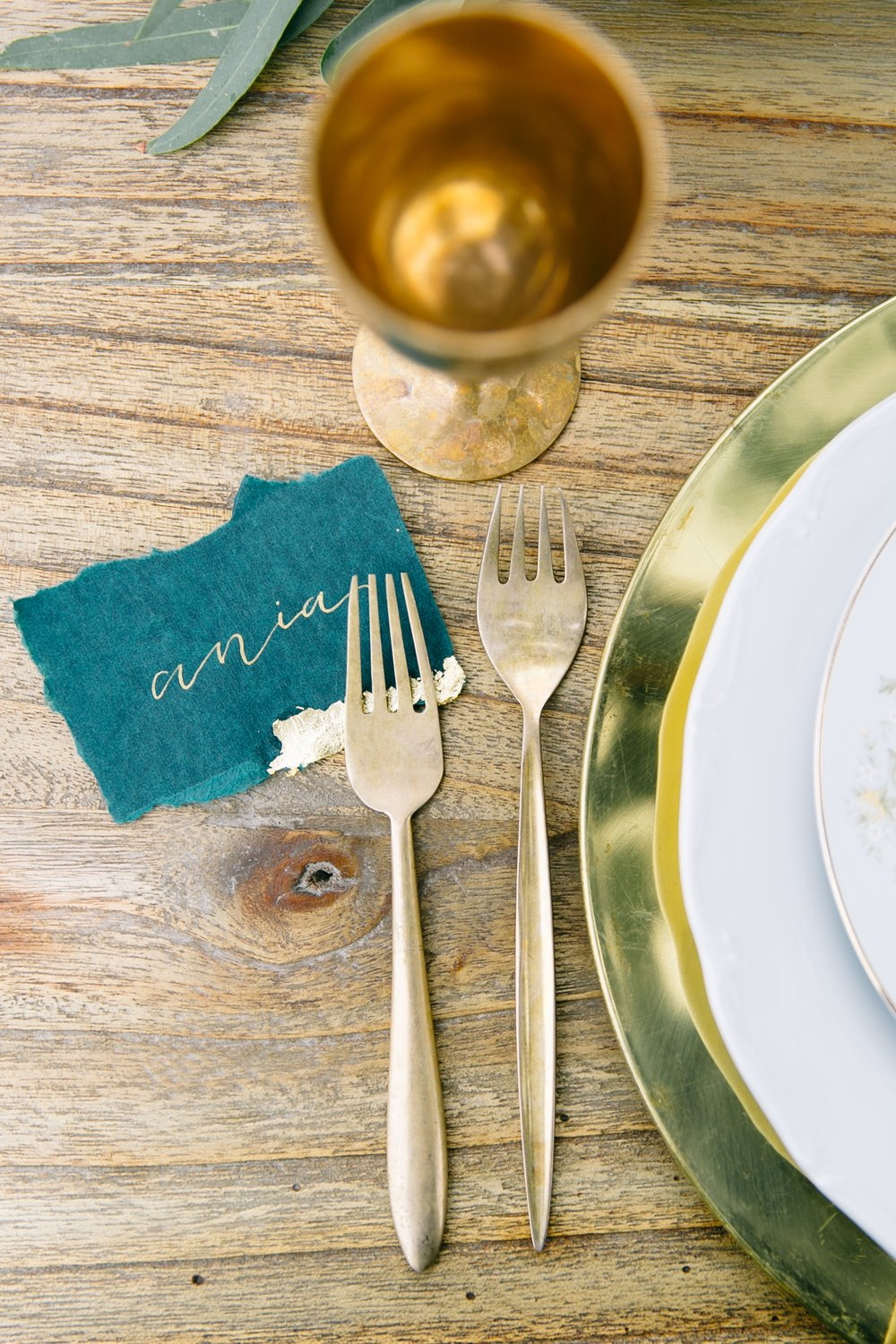 Romantic Wedding Place Cards with Handmade Paper and Gold Leaf