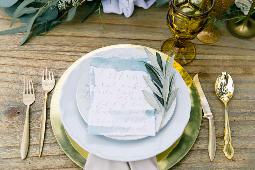 Romantic Wedding Menus on Handmade Paper with Gold Calligraphy
