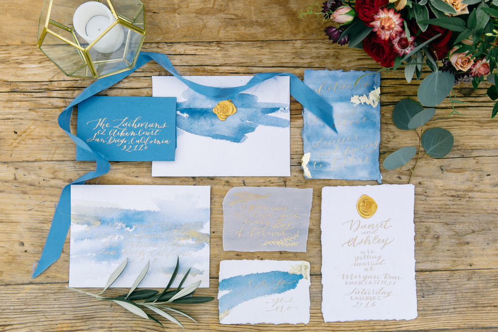 Romantic Wedding Stationery with Handmade Paper Gold Leaf and Wax Seals