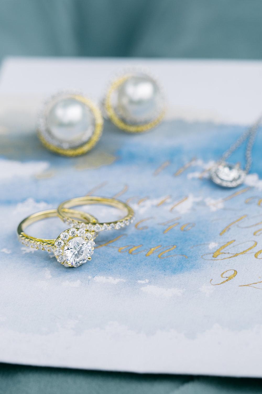 Romantic Wedding Stationery with Gold Wedding Jewelry