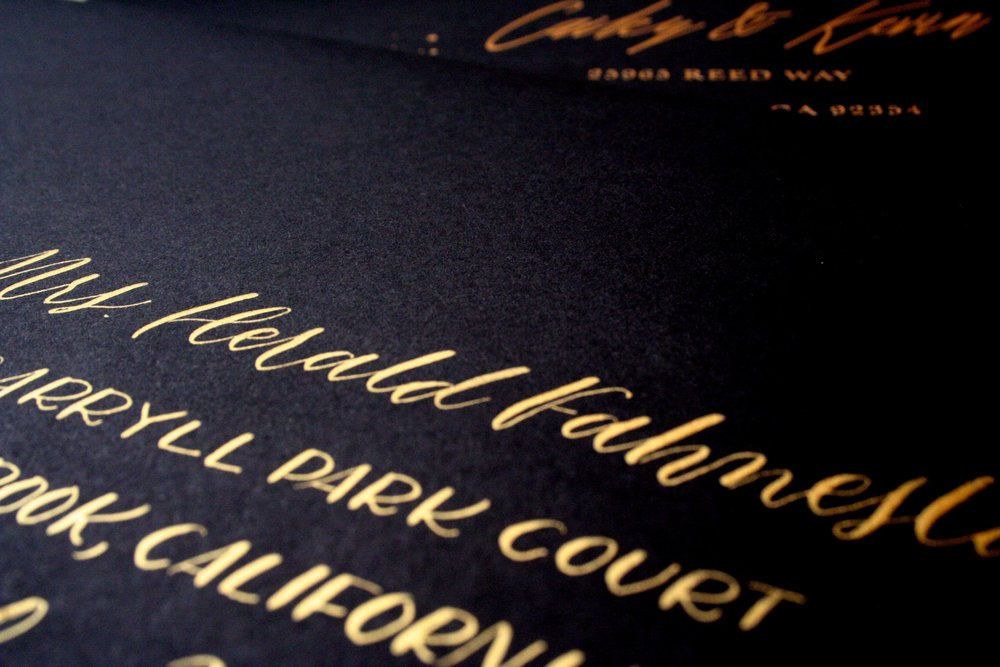 Black Gold Calligraphy Invite
