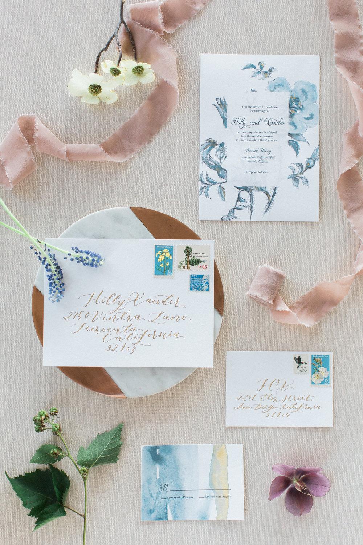Custom floral watercolor wedding invitations