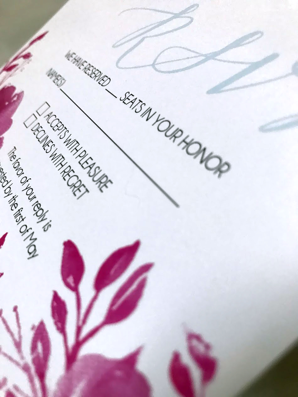 Smooth stock with flat printed watercolor florals
