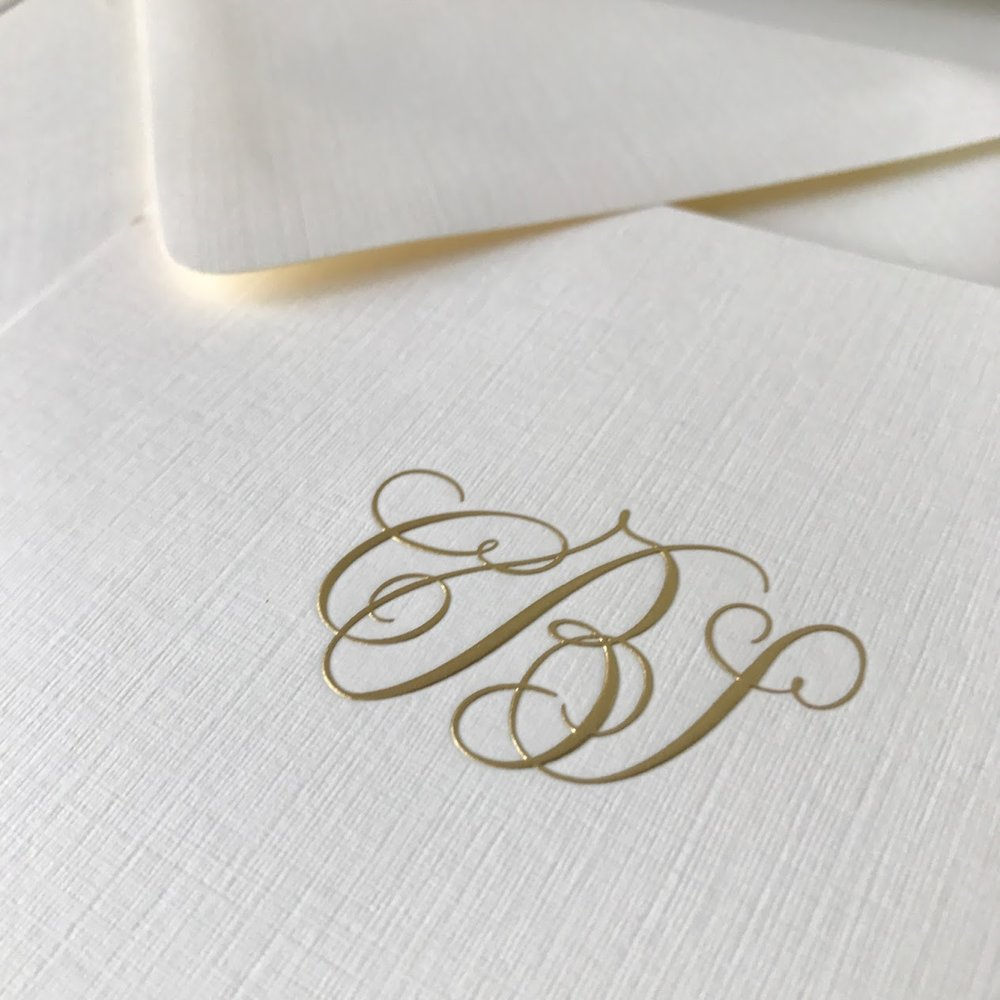 Linen Paper with Embossed Gold Foil Monogram