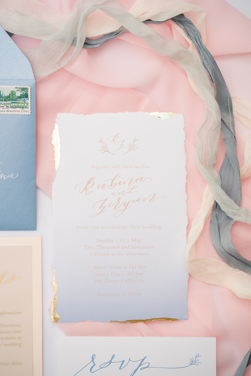 Cotton Paper with Deckled (torn) edges and Gold Leaf  Photo by  Shane and Lauren Photography