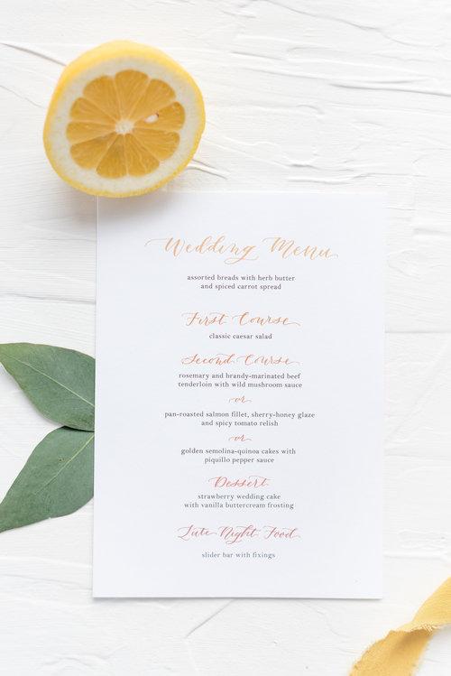 Eeehehtombre Double Sided Wedding Menu Design By Laney