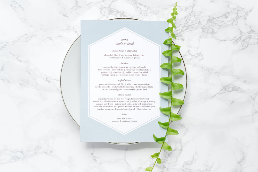 hexagon modern wedding menu