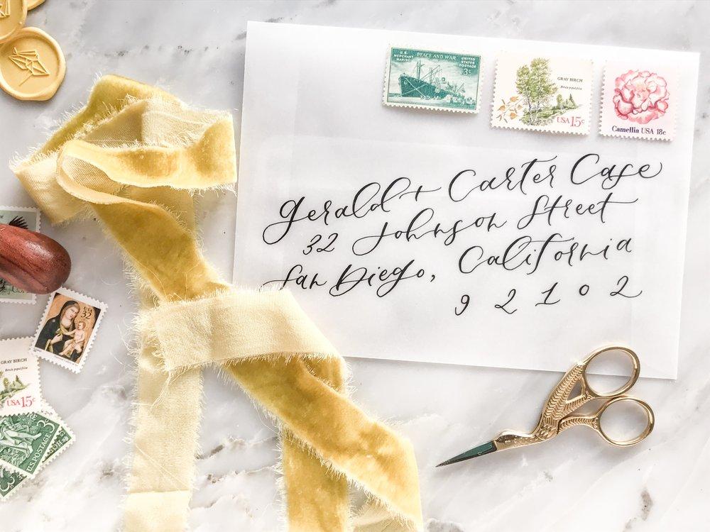 vellum envelope calligraphy
