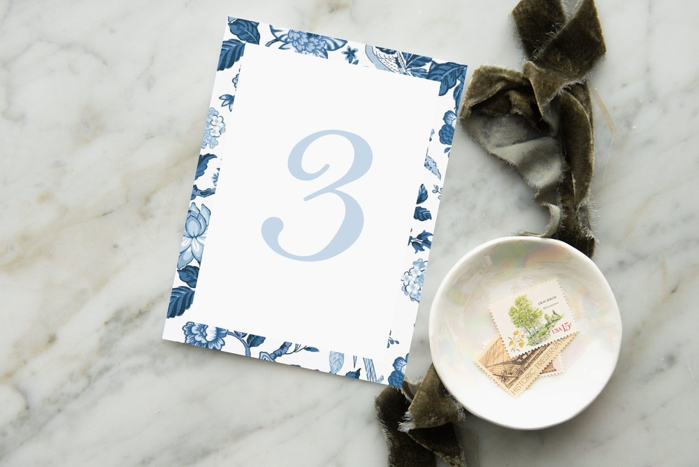 china pattern blue table number