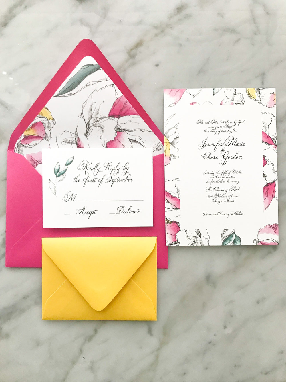 pink and yellow wedding invite