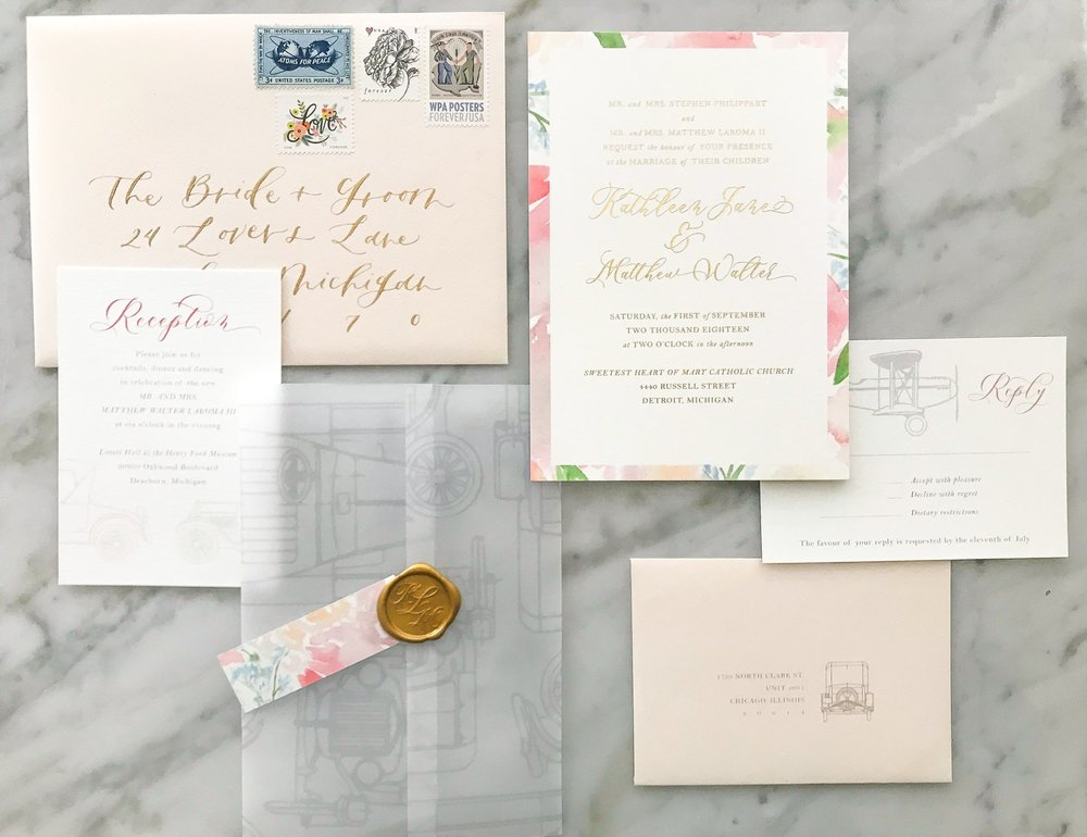 wax seal and printed vellum wrap