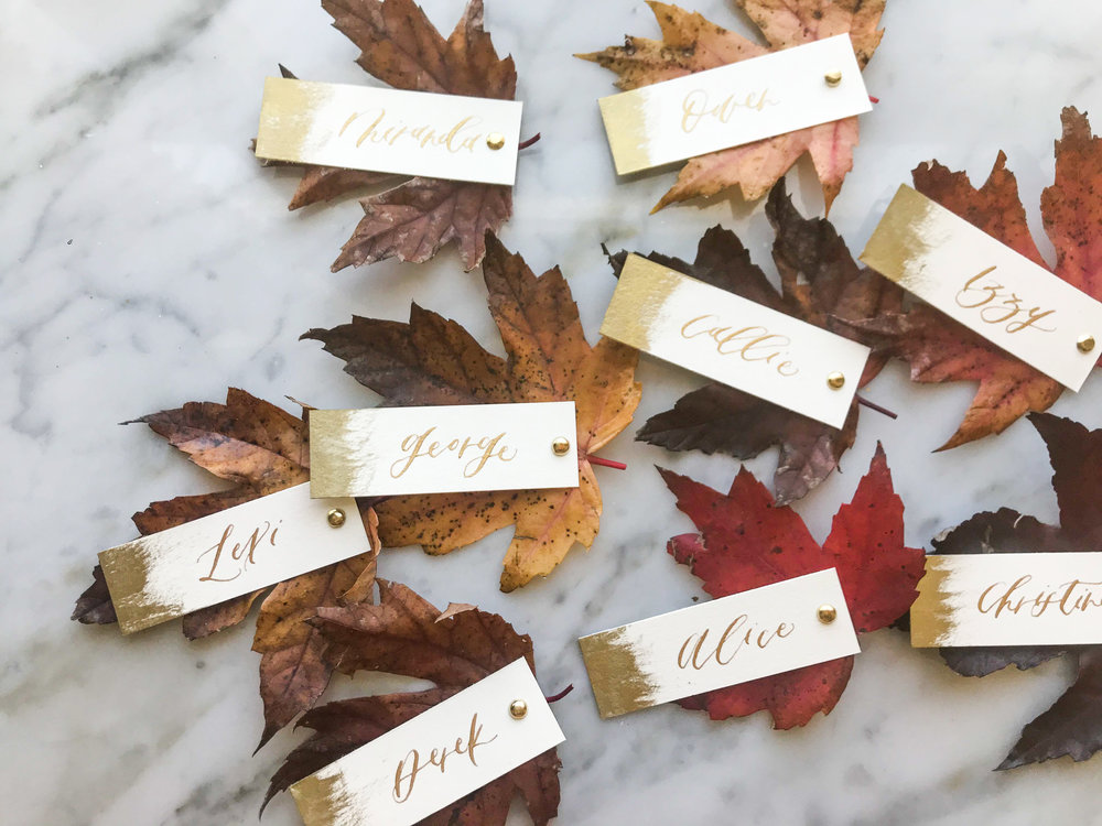 autumn leaves place cards