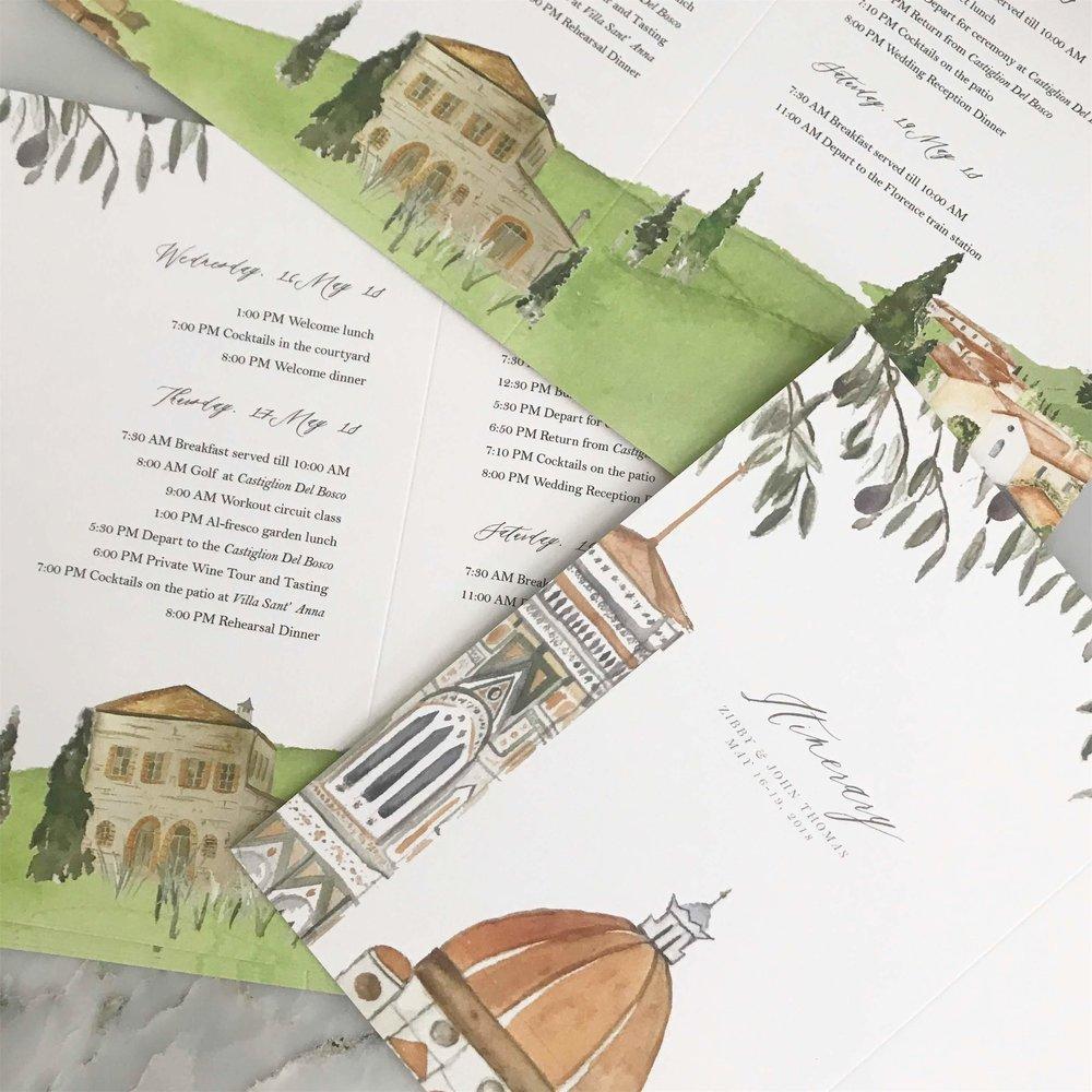wedding itinerary map florence