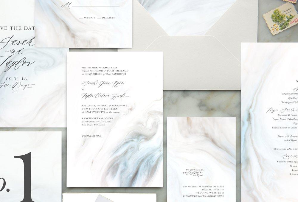 blue marble wedding invitations