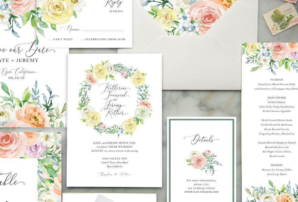 spring flowers wedding invitation