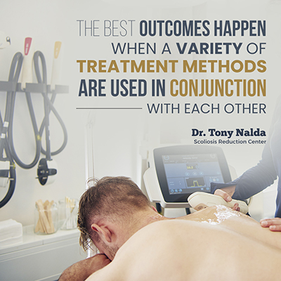 The best outcomes for scoliosis patients happen when a variety of treatment methods are used in conjunction with each other.
