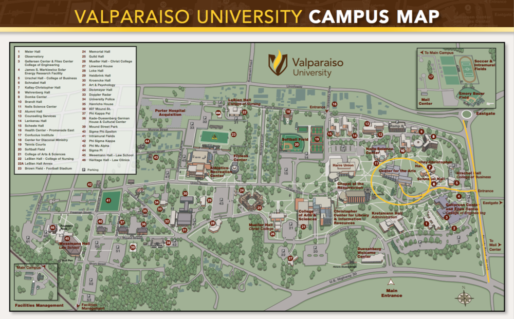 Valparaiso University Map to Recital Hall.png