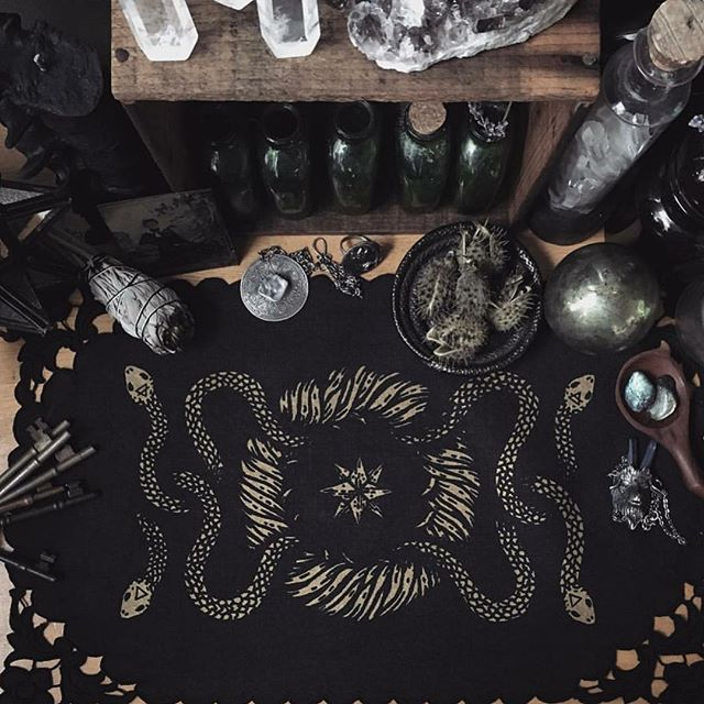 🖤Altars🖤 : My dear friend @poisonappleprintshop will be releasing a collection of hand dyed and printed vintage linen altar cloths today at 2pm EST..... I've had the privilege of watching her process for creation and they are some of the most stunning piece she has made yet to date! : Creating an altar space for ones self is one of the most wonderful things you can do... for me it's allowed myself to be open and giving to all aspects of my life... from found trinkets on endless adventures - unearthed dead life - passed loved ones and things that generally act as offerings - my altar is a space I cherish....having one of Adrienne's pieces on it makes it truly inspiring... : 2pm EST @poisonappleprintshop : Jewels tagged: @burialground @acidqueenjewelry : 🖤🍁🖤
