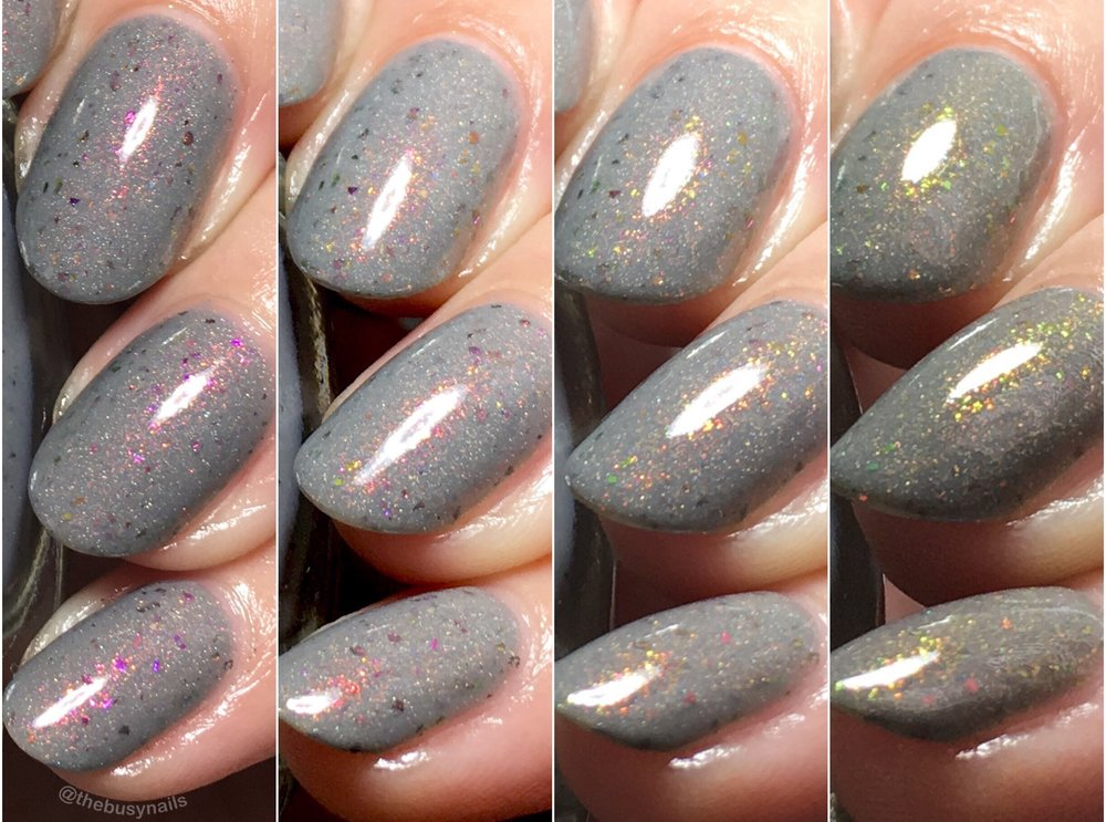 This collage shows off the beautiful shifts in the shimmer. Overall it has a really pretty glowing effect and shifts easily.