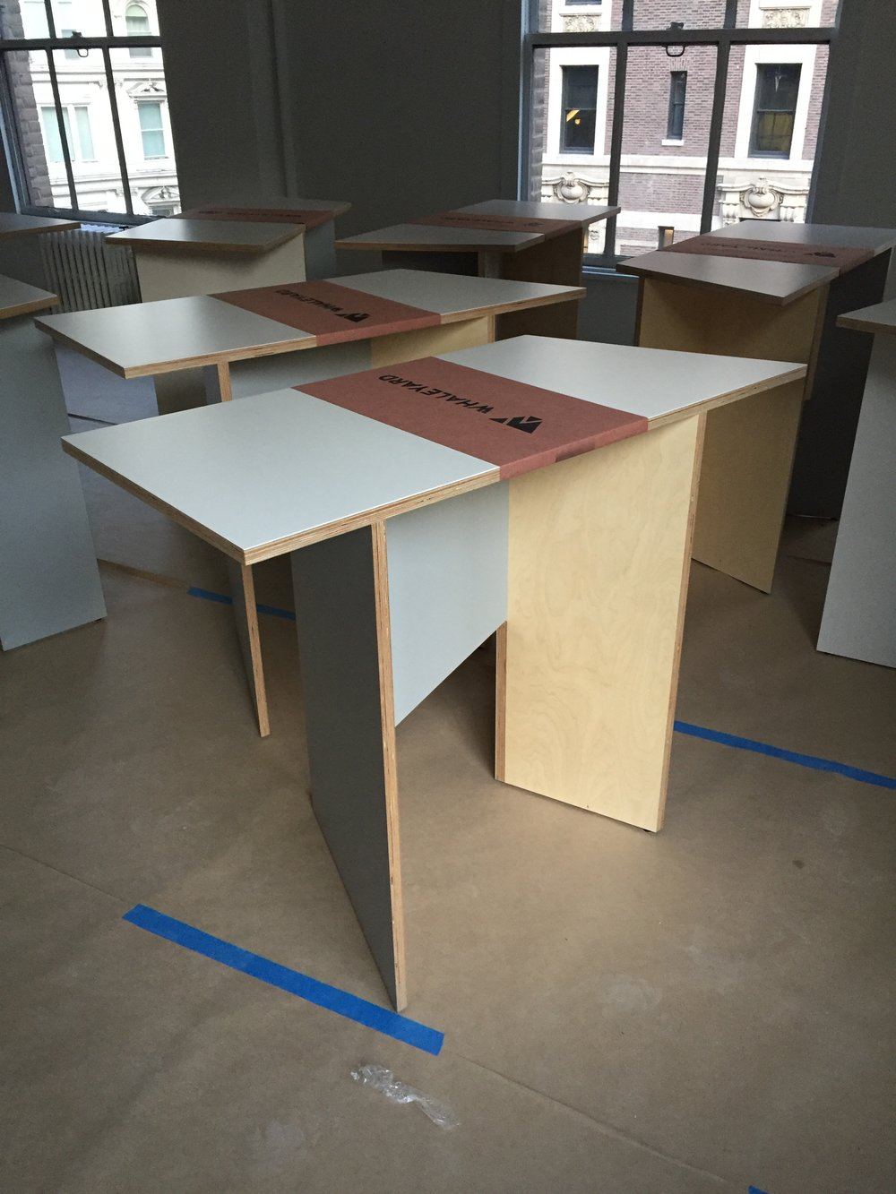 Stand up modular desks mack weldon start up furniture custom made whaleyard