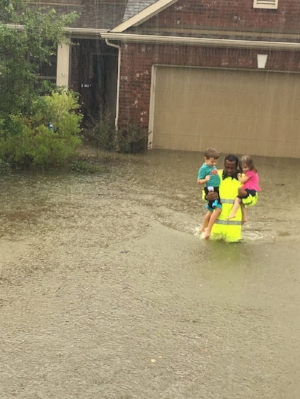 - Harris County Sheriff's deputy Rick Johnson saving children in Houston flood.